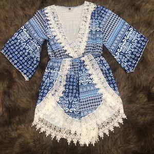 Pants - Blue lace romper